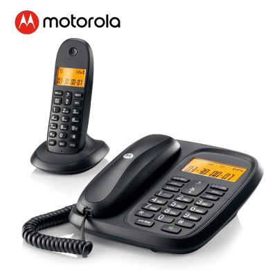 摩托羅拉(Motorola)CL101C數字無繩電話機 無線座機 子母機一拖一 辦公家用 大屏幕 雙清晰免提套裝(黑色)