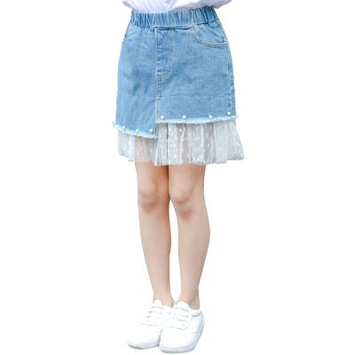 大女童牛仔裙子洋气夏装包臀百褶纱裙夏中大童夏季短裙儿童半身裙涤纶 莎丞