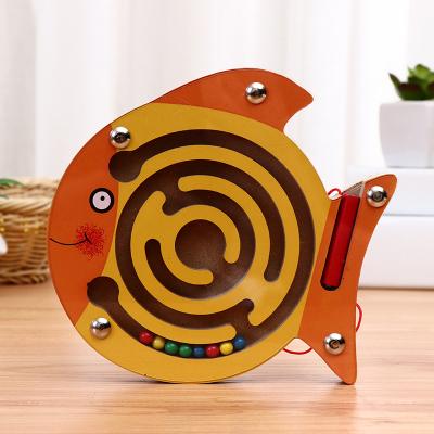 【品質優選】木制走珠迷宮游戲小號磁性運筆動物迷宮幼兒園兒童早教力玩具 小黃魚六一兒童節禮物