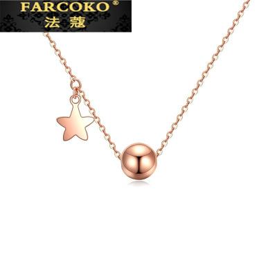 法蔻珠寶輕奢品牌項鏈女18k玫瑰金套鏈項墜彩金吊墜圣誕情人節生日送女友