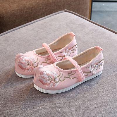 儿童汉服鞋子女童绣花鞋老北京布鞋宝宝唐装表演出舞蹈鞋中国风新