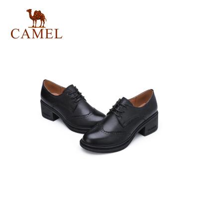 Camel駱駝女鞋秋季英倫風復古小皮鞋百搭布洛克chic單鞋女粗跟圓頭