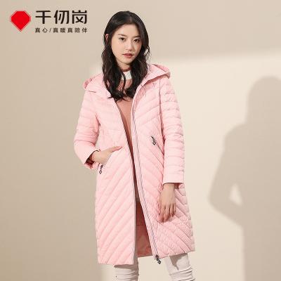 千仞崗冬季品牌羽絨服女中長款連帽輕薄簡約羽絨服外套