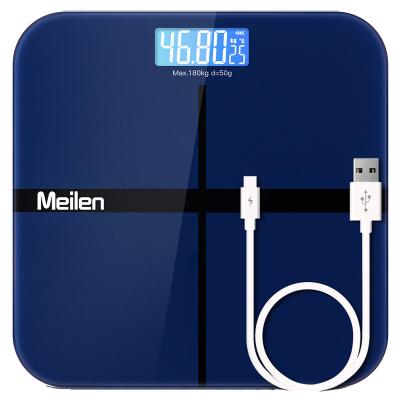 美樂Meilen健康秤帶夜光稱重 USB充電 精準電子稱家用 體重秤自動開關機 成人體重秤儀 減肥秤寶石藍