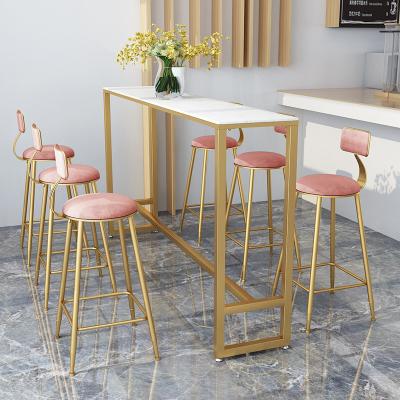 福崗 北歐輕奢大理石吧臺椅簡約奶茶店咖啡廳靠墻酒吧實木高腳桌椅組合