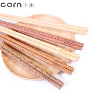 玉米(corn)家用實木筷子 平頭5雙裝 無漆無蠟五種材質 一人一筷分用筷公筷 禮品日式木頭快子餐具套裝 實木筷
