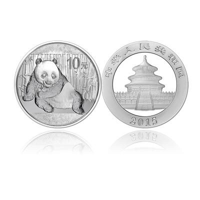 中國金幣 河南中錢 2015年15年熊貓銀幣1盎司熊貓銀幣銀貓 (綠盒)