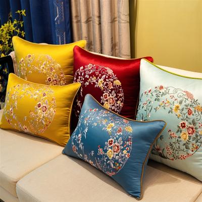 新中式刺绣抱枕沙发靠垫大靠背床头靠包中国风靠枕含芯定制套 浅蓝-莺歌蝶舞 60*60cm(枕套)
