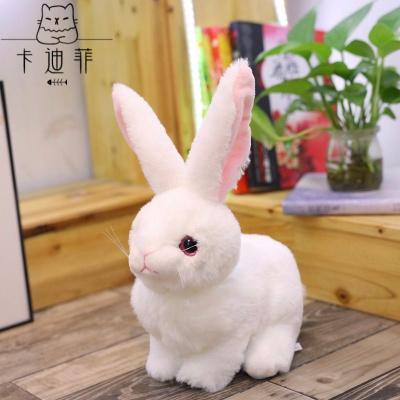 【品质优选】趴姿仿兔子玩偶毛绒玩具小白兔公仔儿童玩具女孩生日布娃娃猫太子 大耳兔白色 20厘米