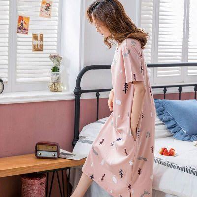 睡衣女夏韓版睡衣女夏季睡裙短袖女士夏天家居服套裝學生可愛大碼威珺