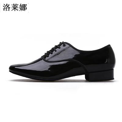 男士摩登舞鞋國標舞鞋亮皮黑色男式交誼舞鞋男人摩登鞋