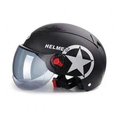 哈雷頭盔夏季電瓶車安全頭帽電動可愛機車四季頭盔男士女士 黑色哈雷