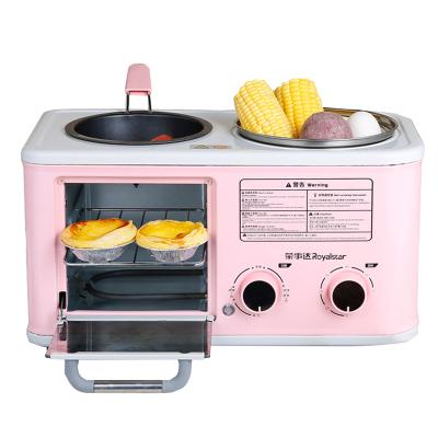 榮事達早餐機RS-KG12A 雙層加熱 快速烘烤 一機多用 多功能早餐機四合一烤面包機家用烤土司三明治機多士爐小型粉色