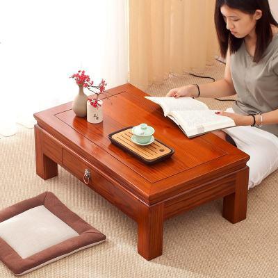 航竹坊 简约休闲现代榫卯榻榻米茶几炕桌实木飘窗小矮茶桌抽屉阳台地台子