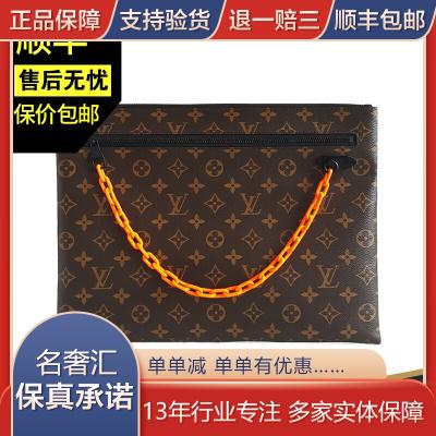 【二手95新】路易威登(LV)A4 手包 經典老花紋配橙色樹脂鏈 手拿包  時尚 女包 含票