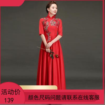红歌大合唱演出服女新款中国风国庆现代舞蹈服装主持人晚礼服正装