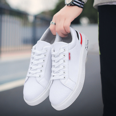 2019春新款帆布鞋男生低幫系帶男鞋子厚底透氣學生白色單鞋韓版板鞋