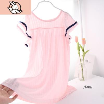 女童睡裙夏莫代爾短袖公主裙薄款白色女寶寶冰絲睡衣兒童可愛超薄 花漾兔