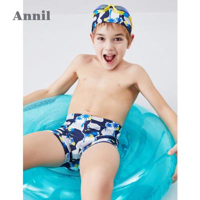 安奈兒童裝男童泳衣套裝平角褲夏2019新款男生泳裝短褲帽子兩件套