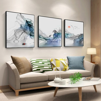 北歐客廳裝飾畫沙發背景墻壁畫古達現代簡約三聯畫臥室床 白色 50*50【適合2.5米左右墻面】25mm厚板+防水布紋膜+