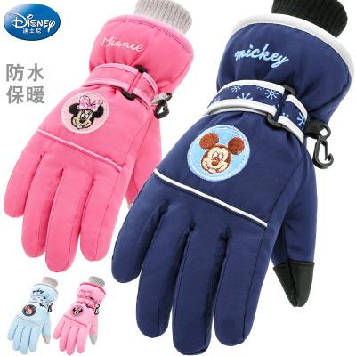 迪士尼(DISNEY) 兒童手套冬滑雪保暖防水男童女童可愛女孩小孩幼兒寶寶五指