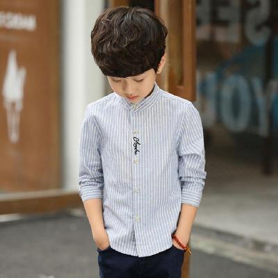 童装男童衬衫长袖儿童春夏棉混纺薄款韩版洋气衬衣男孩2019新款立领上衣莎丞