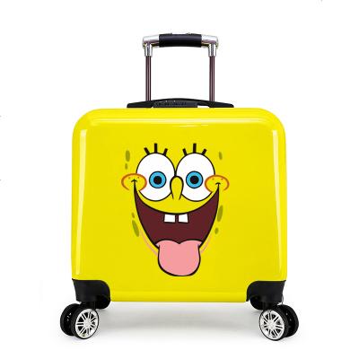 昆吾锋可爱卡通儿童拉杆箱20寸万向轮宝宝行李箱男女小学生可坐骑旅行箱 海绵宝宝