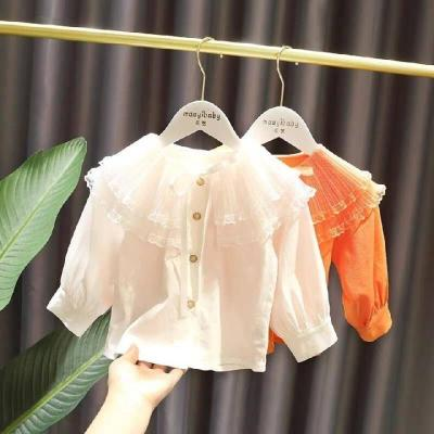 女童韓版泡泡袖娃娃衫寶寶春裝新款兒童洋氣花邊白襯衣潮 臻澀