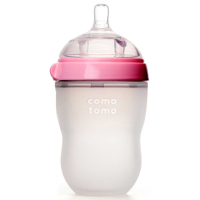 可么多么(como tomo)奶瓶嬰兒全硅膠寬口徑奶瓶粉色 250ml 原裝進口 防脹氣 易清洗