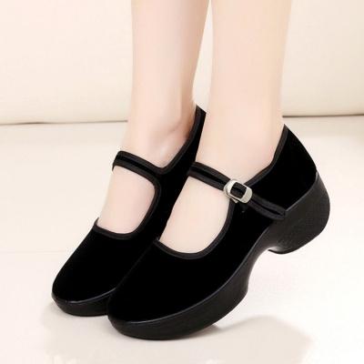 tyburn厚底老北京布鞋女工作鞋女鞋黑色平跟坡跟舞蹈鞋高跟鞋單鞋酒店鞋