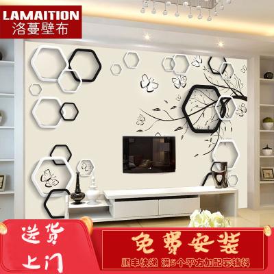 洛蔓 客廳沙發臥室電視背景墻壁畫定制 無縫整張環保 3d黑白框 現代簡約 蝴蝶FX849