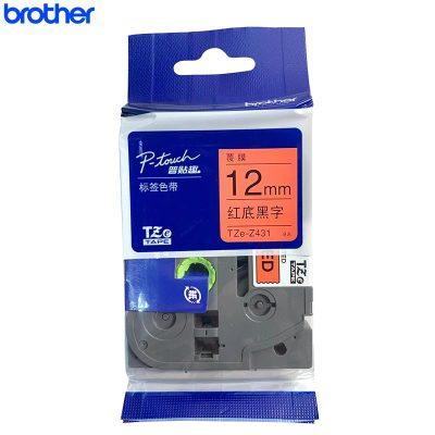 兄弟(brother)標簽色帶TZe-Z431 紅底黑字 12mm 原裝正品