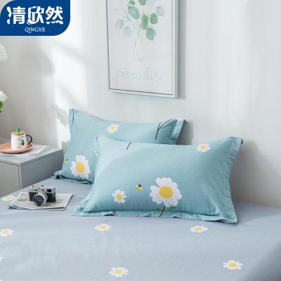 清欣然(QinGXR)家紡 純棉枕套一對裝情侶全棉枕芯套卡通單人學生宿舍防螨枕頭套