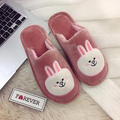冬季室内可爱居家韩版情侣兔熊棉拖鞋女家用保暖防滑厚底居家拖鞋