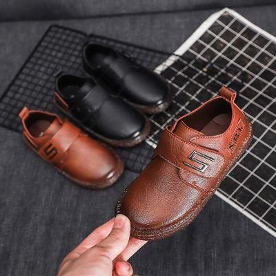 男童皮鞋2019春秋兒童魔術貼男童英倫風皮鞋軟底豆豆鞋懶人休閑鞋 莎丞