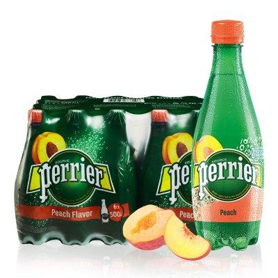 巴黎水(Perrier)桃子味500ml*24瓶含氣天然礦泉水 塑料瓶裝 法國進口氣泡水