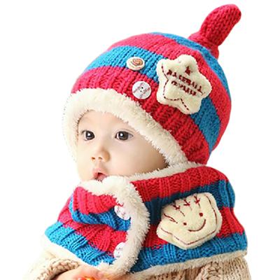 宝宝冬季童帽 婴儿加绒帽子宝宝加绒帽子冬季新款小汽车护耳帽+围巾套装