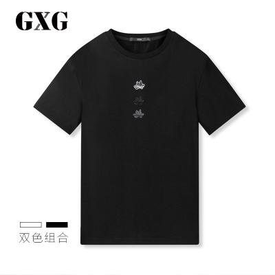 【兩件2折價:54】GXG男裝 夏季休閑潮流時尚黑色圓領短袖T恤
