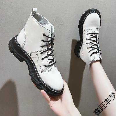 網紅馬丁靴女英倫風2020新款春秋薄款時尚百搭松糕厚底瘦瘦靴短靴