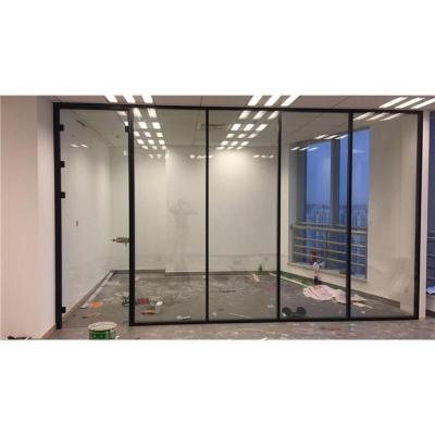 玻璃隔斷墻辦公室高隔斷鋁合金雙層帶百葉單層磨砂無框玻璃屏風墻
