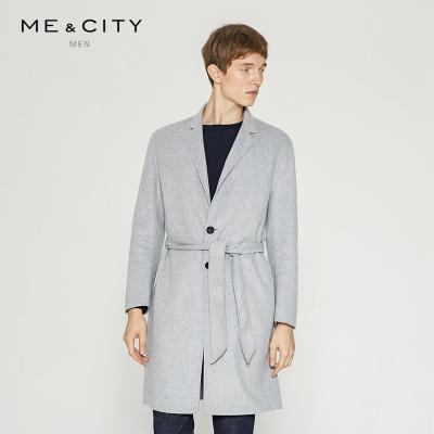 【3件1.5折价:298.5】MECITY男装双面呢羊毛呢大衣男中长款青春流行