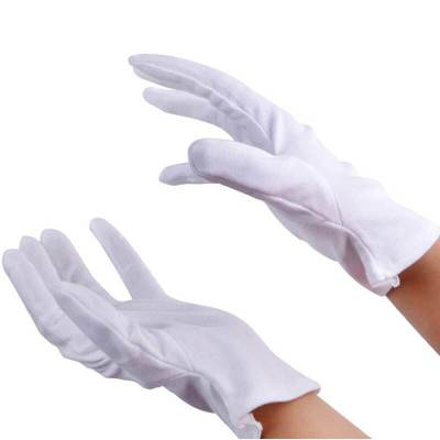 白色棉滑手套加厚棉汗布勞保白手套珠寶文玩檢閱表演手套司機開車演出婚慶