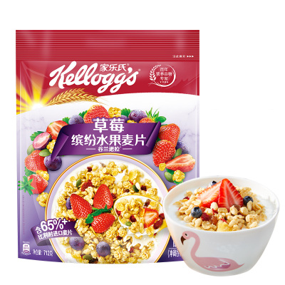 Kellogg's 家乐氏 谷兰诺拉草莓缤纷水果麦片712g 营养谷物早餐(新老包装随机发货)