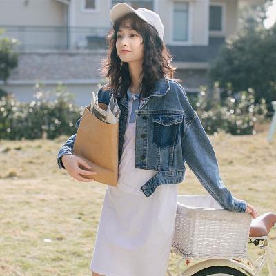 名麗斯牛仔外套女寬松2020女士牛仔服秋裝新款韓版牛仔衣港風撞色短款潮