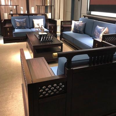 邁菲詩新中式沙發現代中式別墅沙發客廳組合全實木黑檀大戶型烏金木