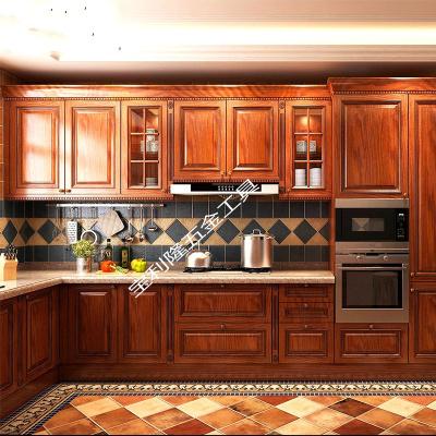 全屋定制實木整體廚房紅橡實木櫥柜定做歐式美式歐式廚柜裝修設計