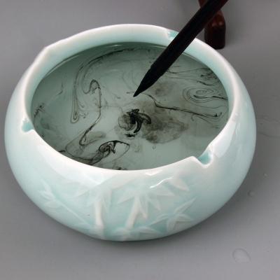 单个竹叶陶瓷创意笔洗 多功能修笔锋开口笔洗
