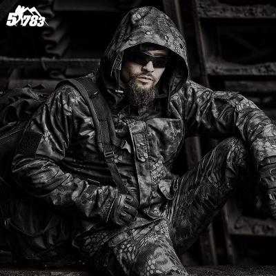 军迷G冲锋衣男加绒加厚蟒纹迷彩冬季战术外套防水户外风衣
