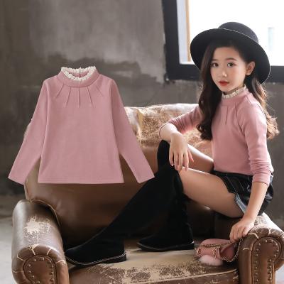 女童打底衫2019新款韓版加絨加厚高領長袖T恤秋冬款洋氣兒童上衣威珺