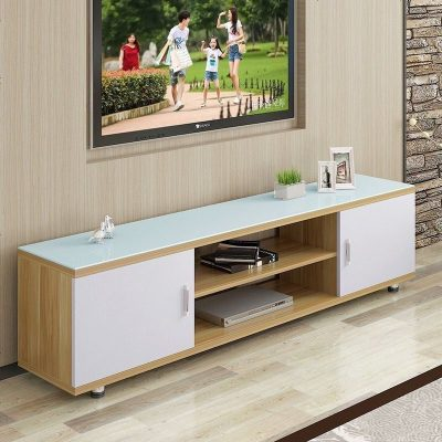 電視柜簡約現代鋼化玻璃伸縮電視柜茶幾組合迷你小戶型客廳地柜 組裝_B款1.0米 組裝_B款1.2米淺胡桃配白+白玻
